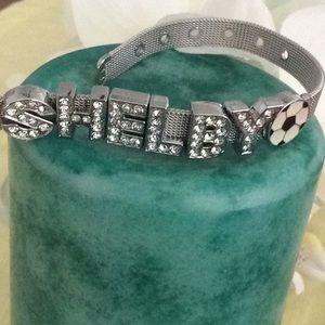 Silver soccer bracelet-SHELBY spelled in crystals